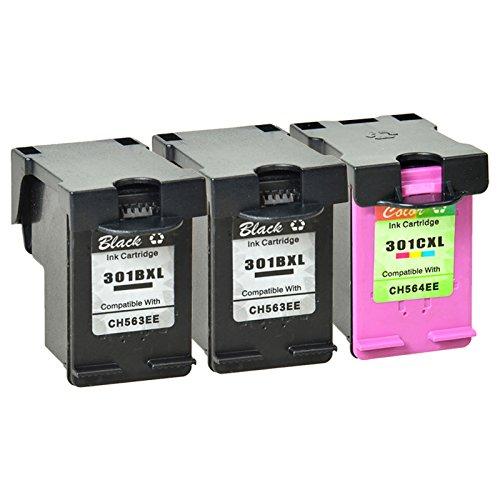 Nineleaf 3 pk 301XL Noir Tri-color 301 XL compatible encre pour impression laser reconditionn¨¦e haute capacit¨¦ Capacit¨¦ CH563EE CH564EE pour HP D1000 1050 1051 1055 1056 2050 2000 2510 2BK + 1C