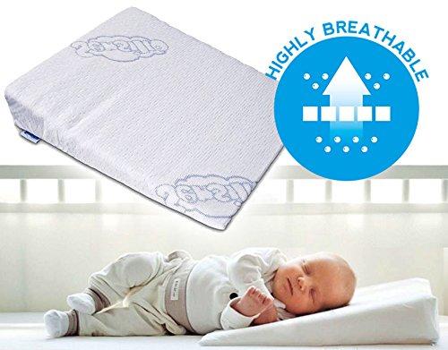 Baby-Keilkissen mit Anti-Reflux- und Anti-Koliken-Funktion für Krippe, Kinderwagen und Kinderbett, 37x 30