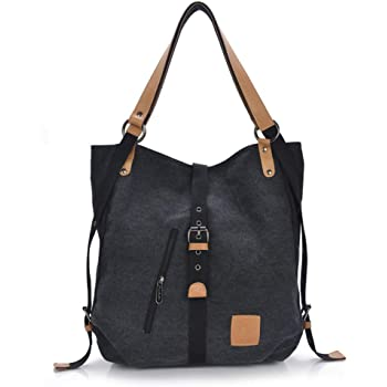 d1420fcf0a11 GINDOLY Vintage Lady Handbag Backpack Shouler Bag Canvas Large 3 in 1  Multifunctional Bag for Work,School, Shopping Travel and Daily Life