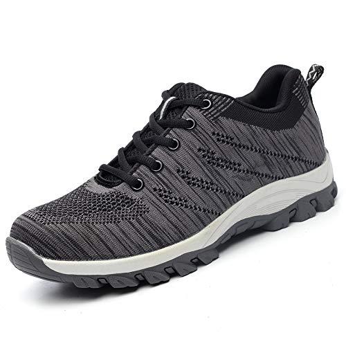 BESKEE Sicherheitsschuhe Herren Damen S3 Arbeitsschuhe Leicht Atmungsaktiv Sneaker mit Stahlkappe, Grau, 38 EU
