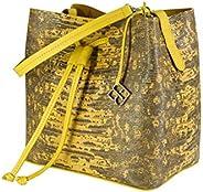 YOUBAG Alya Bucket S - handgefertigte Designer Umhängetasche für Damen aus italienischem Leder - edle Echsenpr