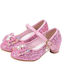 Manka Vesa Girl's Princess Cosplay Performance Shoes Sequins Dress Shoes Low Heeled