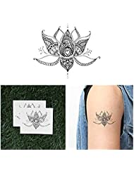 Tattify Tatouages Temporaires Lotus Fleur Avec Coeurs - Lotus Sacr_ (Set de 2)