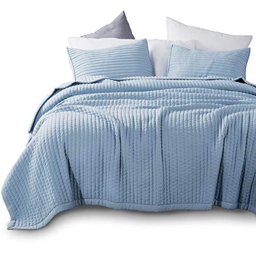 äsche-Set, maschinenwaschbar, sehr weich, leicht, Steinwäsche, detaillierte Nähte, hypoallergen, einfarbig Country Rustic Twin + 2 Shams blau ()