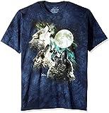 The Mountain Kurzarm-T-Shirt mit 3 Wölfen und Mond Gr. M, blau