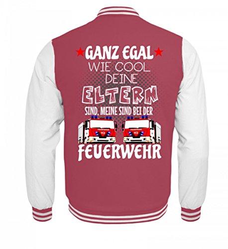 Hochwertige Kinder College Sweatjacke - Feuerwehr Shirt · Geschenk für Feuerwehrmänner/Frauen · Spruch: Eltern bei der Feuerwehr (Feuerwehrleute Mädchen)
