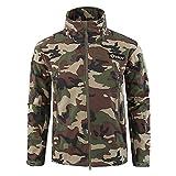 Kanpola Herren Jacken Camouflage Outdoor Winddicht Warme Dicken Sport SAMT Mantel mit Taschen Kragen Kapuze Sweatjacke Outdoorjacken