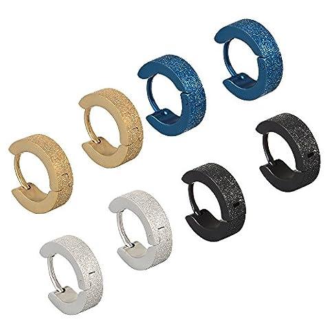 SHINEstyle Boucles d'oreilles en acier inoxydable 20G en acier inoxydable Boucles d'oreilles en perles Huggie Unisex Hommes Femmes (4 Paires:4