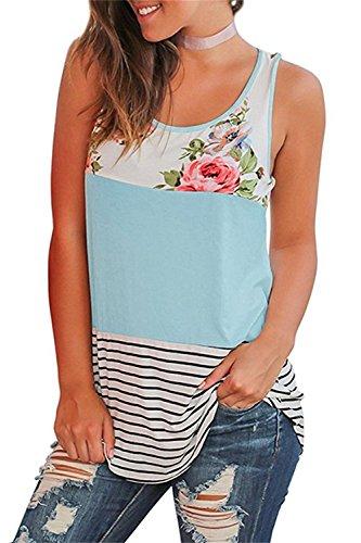 ASKSA Damen T-Shirts Sommer ?rmellos Bluse Blume Gedruckt Streifen Patchwork Rundhals Oberteil Tops Blusen Shirt