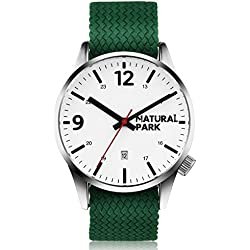 NATURAL PARK Casual Quartz Watch with White Dial Analogue Display and Green Nylon Strap