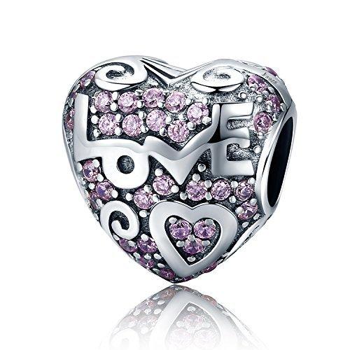 Love Heart Charm Bead 925 Sterling Silver Birthstone Crystal Charm,