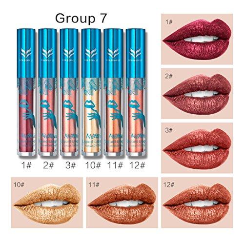 labios gruesos lápiz labial mate de maquillaje permanente 6 colores lápiz labial brillo barras de labios mate larga duracion cosméticos labial impermeable de de diamante metalizado holográfico brillante (Metallic Bead Gloss Lip G)