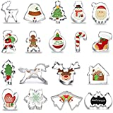 Anokay 18 Pieza Cortador de Galletas Moldes para Galletas Cortadores de Acero Inoxidable Navidad Diversas Formas para la Decoración de la Torta Accesorios de Cocina de la Galleta Conjuntos de Molde Adornar los Alimentos