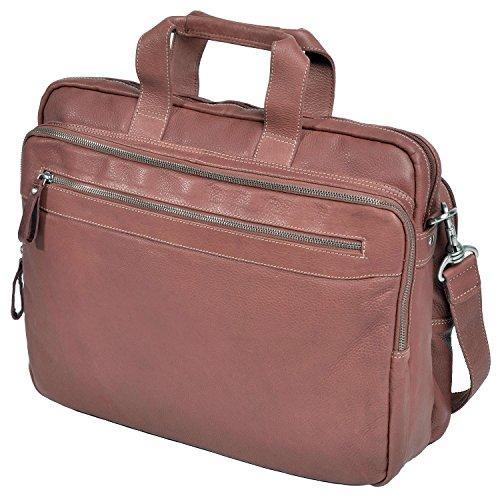 Aktentasche - Laptoptasche - Arbeitstasche aus fettgegerbtes weiches Vollrindleder von Shalimar, Farbe:Schwarz Natur