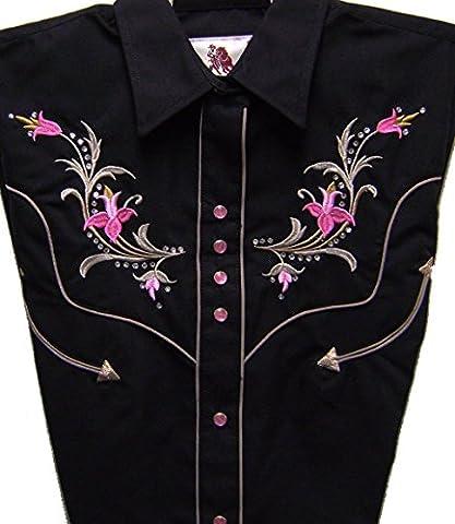 Modestone Women's Embroidered Long Sleeve Western Chemise Floral Horseshoe Black S