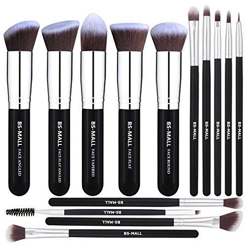 BS de Mall (TM) Maquillage Professionnels Noir Premium 14 pcs Synthetic Foundation Powder Concealers Eye Shadows Silver Black Makeup Brush Set (Silver Black)