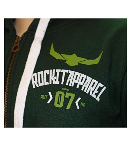 """ROCK-IT Herren Zip-Hoodie Sweatjacke Zipper Kapuzenjacke """"07"""" Kapuzenpullover Sweatshirt Pullover Größen S-5XL Farbe Schwarz Grau Navy Blau Grün Emaille Grün"""