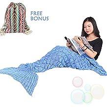 Handgemachte Gestrickte Meerjungfrau Schwanz Decke MAGFLY Fish-scale Meerjungfrau Decke Schwanz Sofa Schlafsack Perfekt Geschenk für Erwachsene und Teenager (Azurblau)