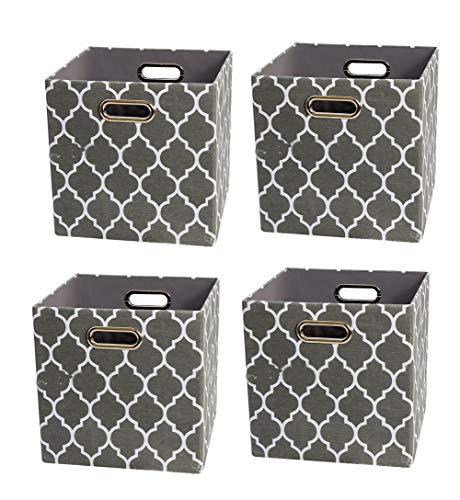 Sepsg 4pcs Aufbewahrungskorb Faltbarer Aufbewahrungsbox Cotton Cube mit Griff für Kleidung, Bücher und Spielzeug,Gray