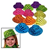 Fun Express Neon Animal Print Gangster Hats (1 Dozen)
