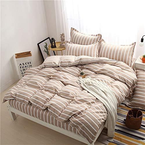 Rosa Und Brown Twin Bettwäsche (UOUL Bettwäsche Set 4-teilig Baumwolle Weich Und Pflegeleicht Streifenmuster Pink 1 Bettbezug+1 Spannbettlaken +2 Kissenbezug,Brown,Twin Size)