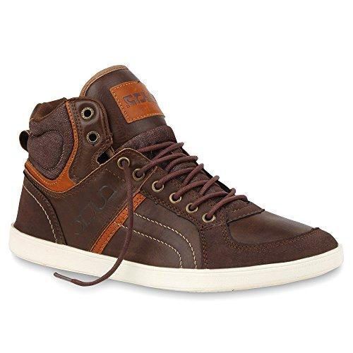 Cultz Sportliche Herren High Sneakers Gesteppt Bequeme Freizeit Schuhe 100328 Dunkelbraun Camargo 42 Flandell (Gesteppte Schuhe)