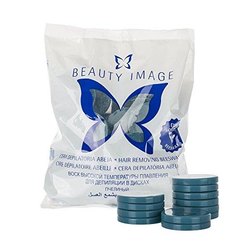 BEAUTY IMAGE Bienenwachs Haarentfernung, Wachs-Scheiben für Gesicht, Achseln und Intimbereich, 1kg (Azulen) (Kit Waxing Home)