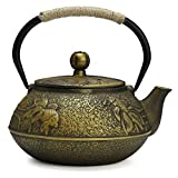 Fuloon Gusseisen Teekanne Tee Wasserkocher mit Sieb 30oz/0.9L Teapot (30oz/0.9L, Goldfisch)