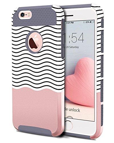 iPhone 6s Plus Hülle, BENTOBEN iPhone 6 Plus Handyhülle mit Dual Layer Schutz Hybrid PC Hartschale und weiche TPU Ultradünne stoßfeste Schutzhülle für iPhone 6 Plus iPhone 6S Plus, Grau + Welle Muster