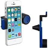 kwmobile soporte para la ventilación del automóvil para Smartphone - soporte para las rejillas de ventilación del coche en azul - compatible por ej. con Samsung, Apple