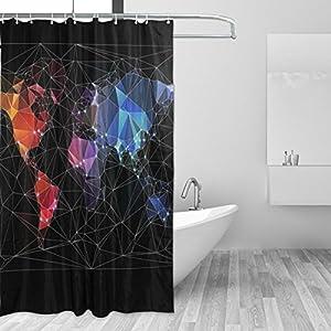 Cortina de ducha JSTEL Mapa del Mundo Big City resistente al moho y resistente al agua, tejido de poliéster, 182,88 x 182,88 cm, para el hogar, extra larga, para baño, decorativa, cortinas de ducha, con 12 ganchos