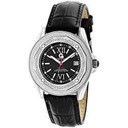 Centorum Watches: Genuite Diamond Watch w Black Leather Band 0.5ct