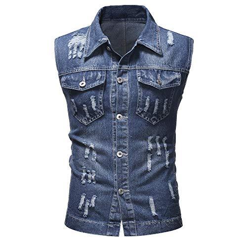 KPILP Mens Stilvoller Herbst Winter Zerstörte Vintage Jeansjacke Streetwear Weste Bluse Hip Pop Top(DunkeHellblaulau, L