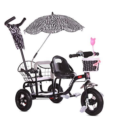 JYWXK Kinder-Dreirad, Doppel-Dreirad, Doppel-Dreirad, Doppel-Baby-Kinderwagen mit klappbarem Pedal, Sommer-Baby-Kinderwagen, für Kinder im Alter von 1-6 Jahren, Rosa Schwarz