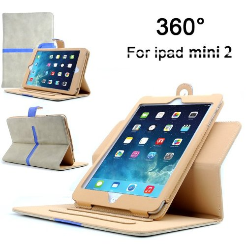 Apple iPad Mini / iPad Mini 2 360 Rotation White Suede Stand Case Cover with Magnetic Sleep Wake Sensor + Free Screen Protector