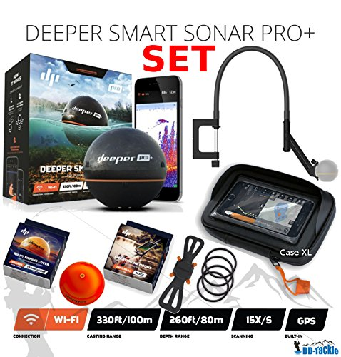 Deeper Smart Sonar Pro + Plus Set Wifi GPS + Smartphone Halterung + Night Fishing Cover + Flexarm + Case XL Bathymetrische Karte