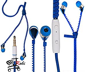 New Designed Zipper Style In Ear Bud Earphones Handsfree Compatible For Micromax Canvas Win W092 -Blue