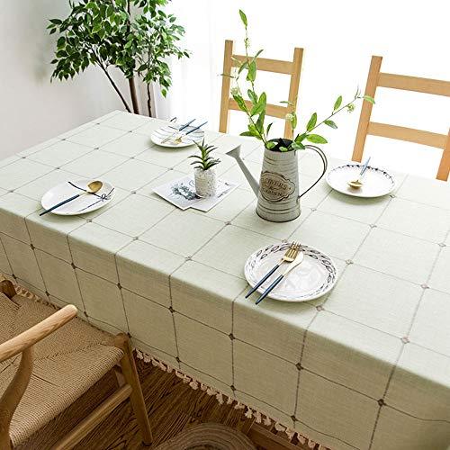 WXQQ Tischdecke staubdicht und wasserdicht pflegeleicht für drinnen und draußen Linen green 140 x 140cm -