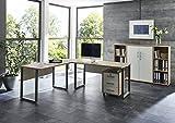 Arbeitszimmer komplett Set PRO OFFICE (SET 2) mit Winkelschreibtisch, Rollcontainer und Highboard in Eiche Sonoma / Weiß abschliessbar, Metallgriffe, Made in Germany