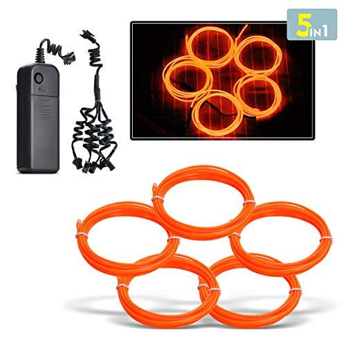Aogbithy Flexibel Wasserdicht EL Wire EL Kabel Neon Beleuchtung leuchtschnur mit 3 Modis für Partybeleuchtung,Weihnachtsfeiern und Halloween Kostüm Rave Dekoration (Orange) (Home Hilfe Halloween Kostüme)