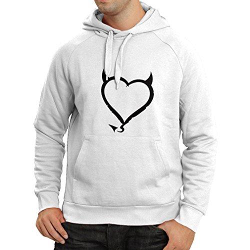 N4013H Kapuzenpullover Teufel Herzen lustiges T-Shirt Geschenk Farben / Sizesblanc Weiß Schwarz