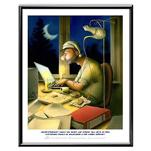 Veit`S Bilder Wandbild Cartoon Beruf Arbeit Selbstständig - Hätte ich nur EIN Schlaflabor in der Karibik eröffnet! (Mittel 40x50mit Rahmen)