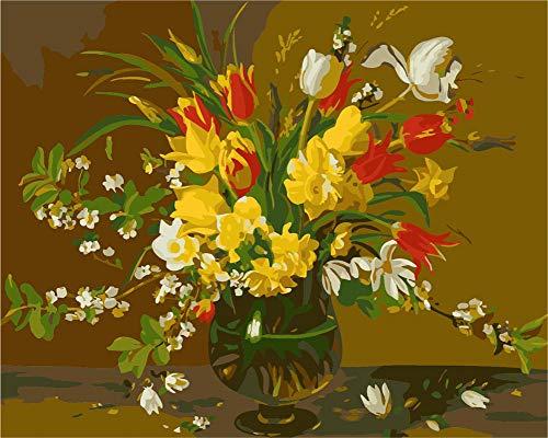 WOWDECOR DIY Malen nach Zahlen für Erwachsene Kinder Mädchen, Blume Lily Rot Gelb Weiß Vase Romantisch 40x50cm Vorgedruckt Leinwand-Ölgemälde (ohne Rahmen) - Pferd-vase