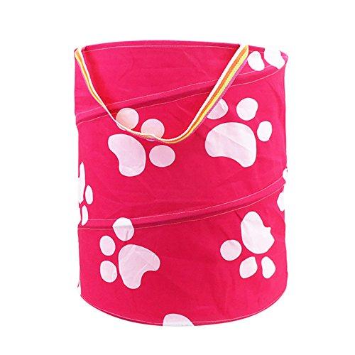 NINGSANJIN Leinen Wäschekorb Groß Wäschebox aus Baumwolle Stoff Wäschesack Bad Spielzeugkorb für Kinderzimmer Organizer Korb Baby Kinder Kleidung Wäschekorb - Hund Pfote (Hund Bettwäsche Wasserdicht)