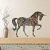 Rureng Bunte Blumenmuster Pferd Wandaufkleber Abstrakte Kunst Design Dekorative Wandtattoo Für Wohnzimmer Vintage Home Decor