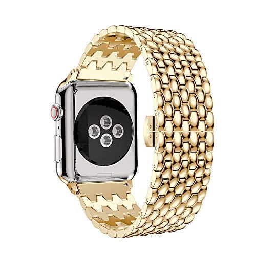 TPulling Apple Watch Series 4 Uhr Armband Sport Schleife Luxus Legierung Link Edelstahl Gürtel Uhrenarmband Ersatzarmband Handschlaufe (40MM) (Gold)