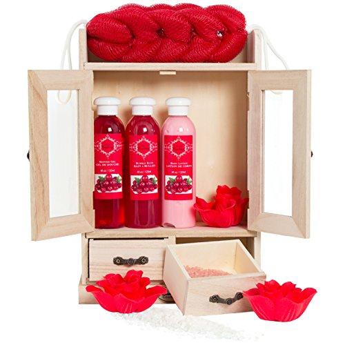 Brubaker, Set sapone bagno e doccia con armadietto in legno, 10pezzi