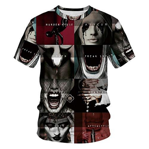 Camisa de compresión para Hombres Halloween 3D Space American Horror Story Estampado Digital Camisa de Fondo Informal, L