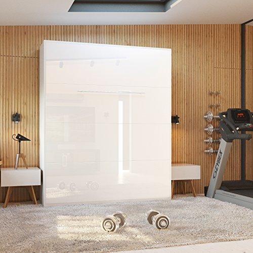 Schrankbett 160x200 cm vertikal Weiß Hochglanzfront MDF mit Gasdruckfedern, ideal als Gästebett - Wandbett, Schrank mit integriertem Klappbett, SMARTBett