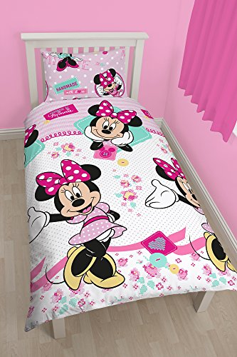 Character World - Set con copripiumino per letto singolo, motivo Disney: Minnie Mouse, multicolore